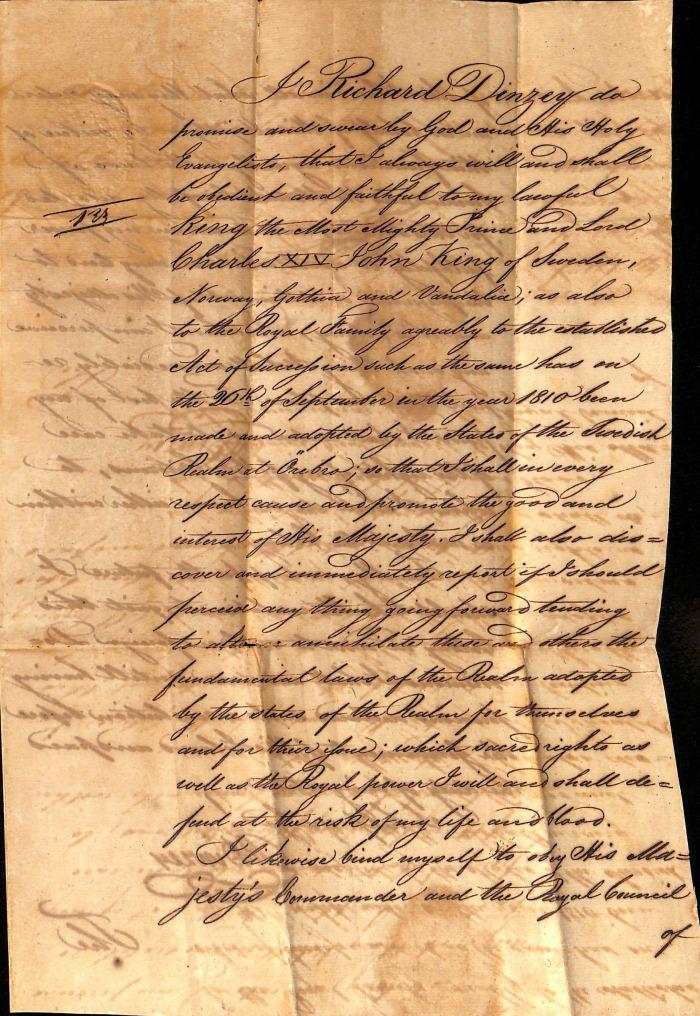 DINZEY Richard oath page 1