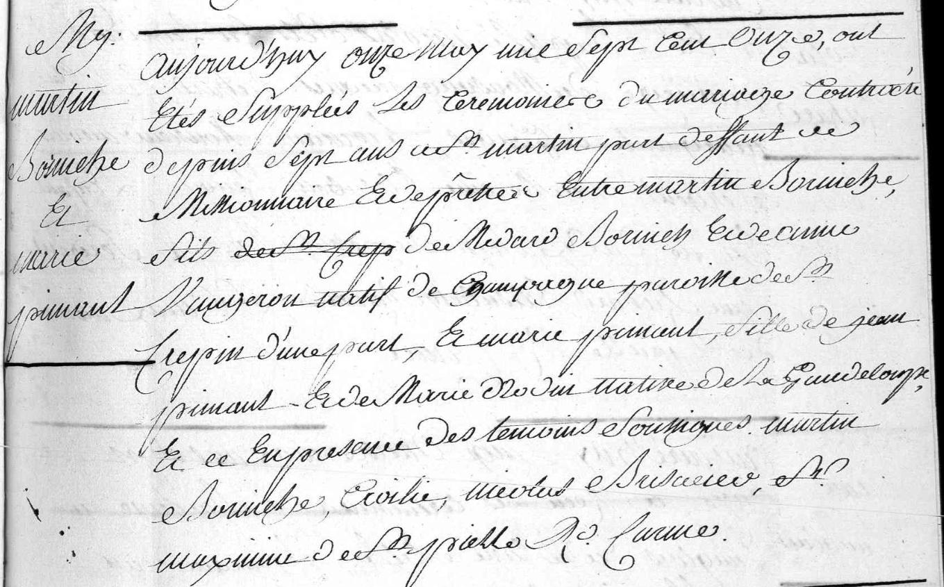 BORNICHE mariage PIMONT 1711 Basse Terre