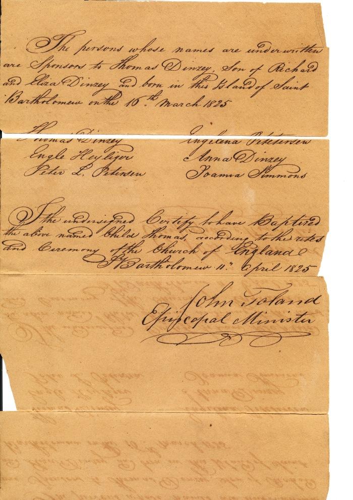 1825 - DINZEY THOMAS - BAPTHEM