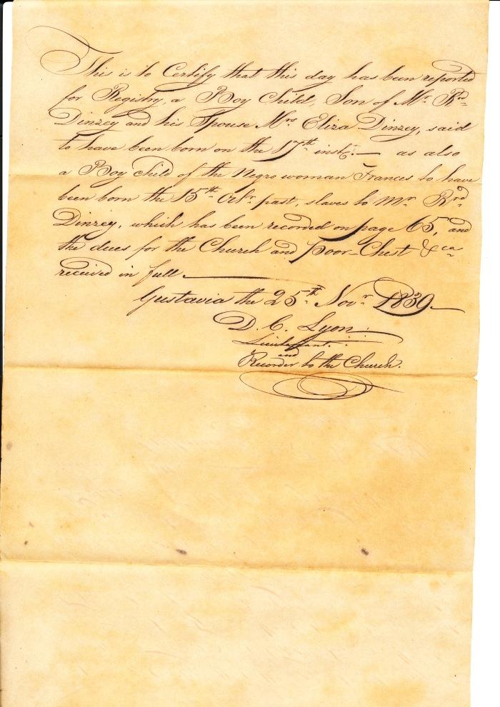 1830 - DINZEY BOY AND SLAVE BOY BIRTH