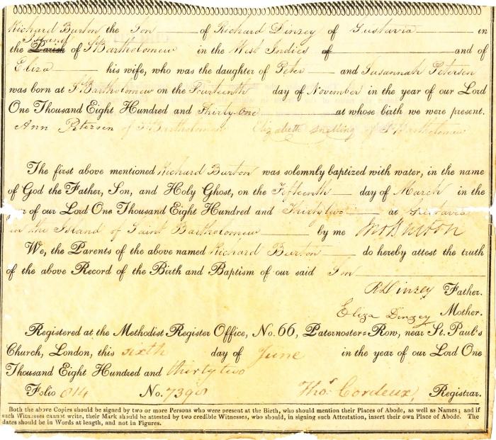1832 - DINZEY RICHARD BURTON BAPHTEM