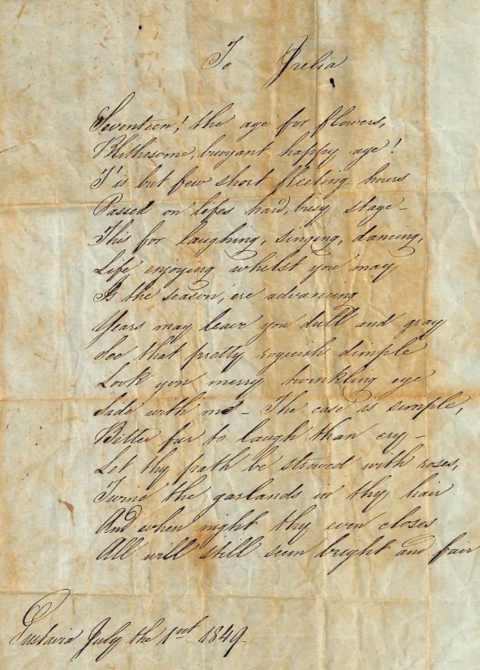 ABOTT Julia communion 1849 - poeme