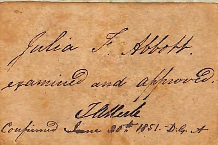 ABOTT Julia confirmation 1851