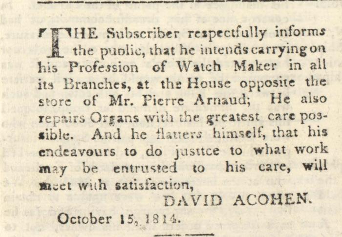 COHEN DAVID A 15 OCTOBRE 1814 REPORT