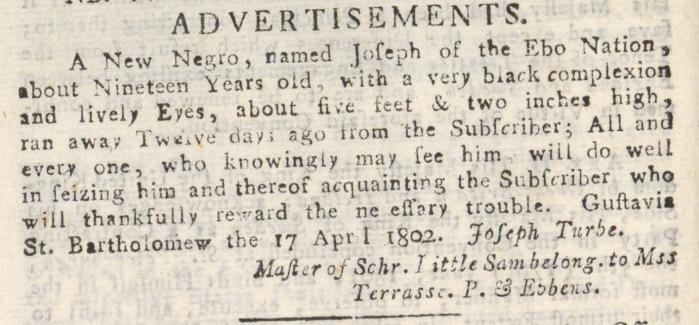 TURBE Joseph runaway slave 17 avril 1804 erreur annee