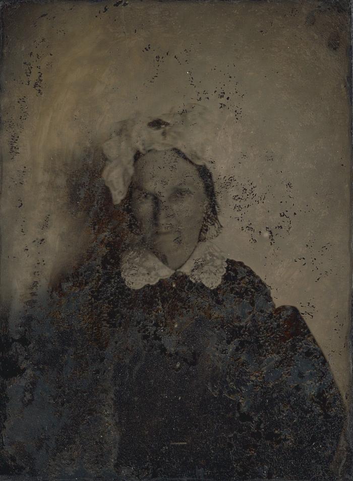 Porträtt av Marie Josephine Ridderhjerta, född d'Ostrées (1791-1876), 1861. Maka till Bror August Ridderhjerta. Taget på Guldbröllopsdagen den 4 Februari 1861