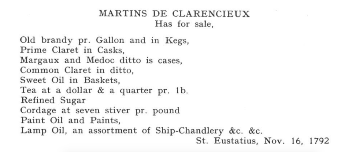 1792 MARTINS de CLARENCIEUX St Eustatius gazette add