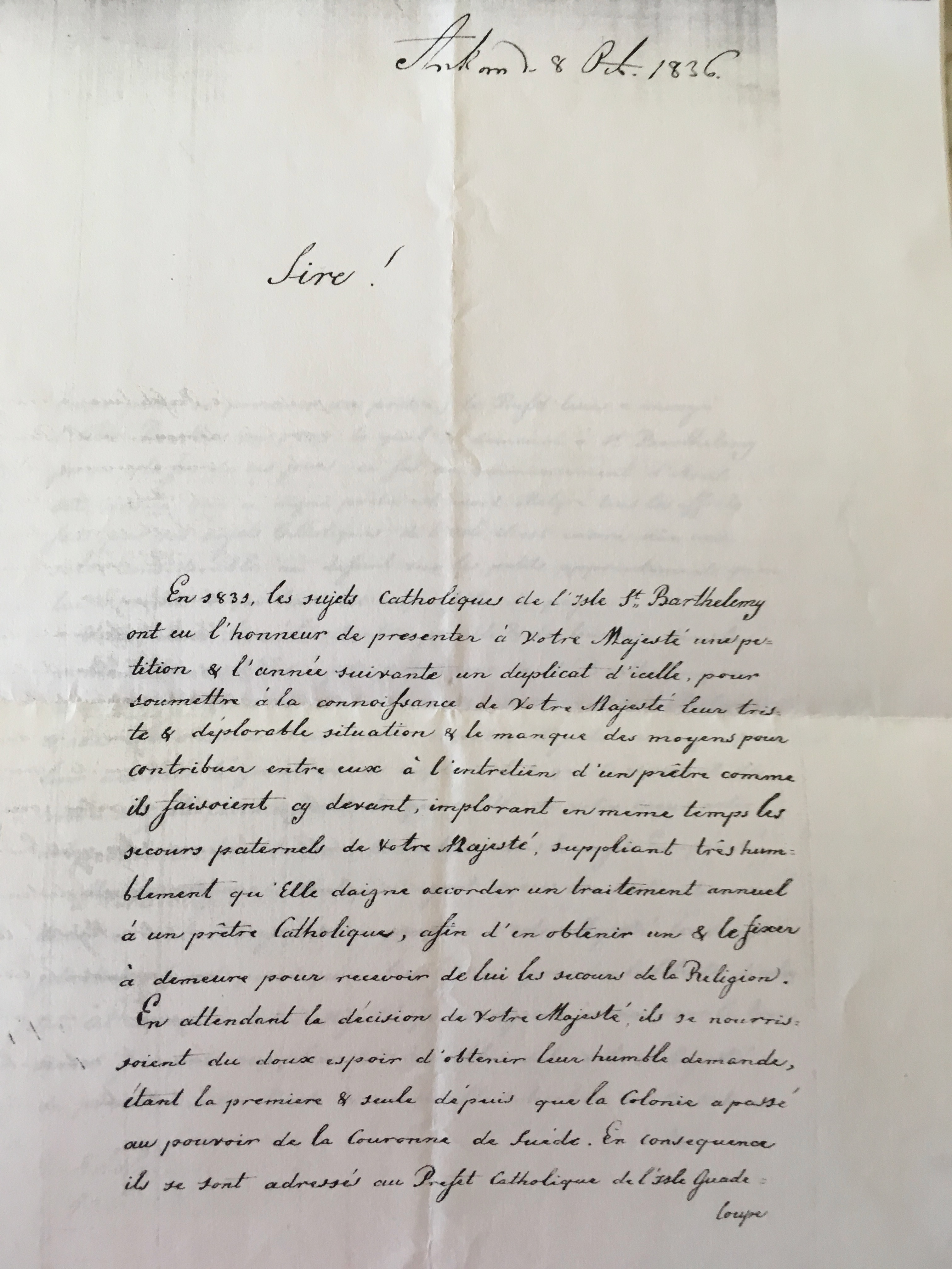 1836 petition to King by J.Portelly p1
