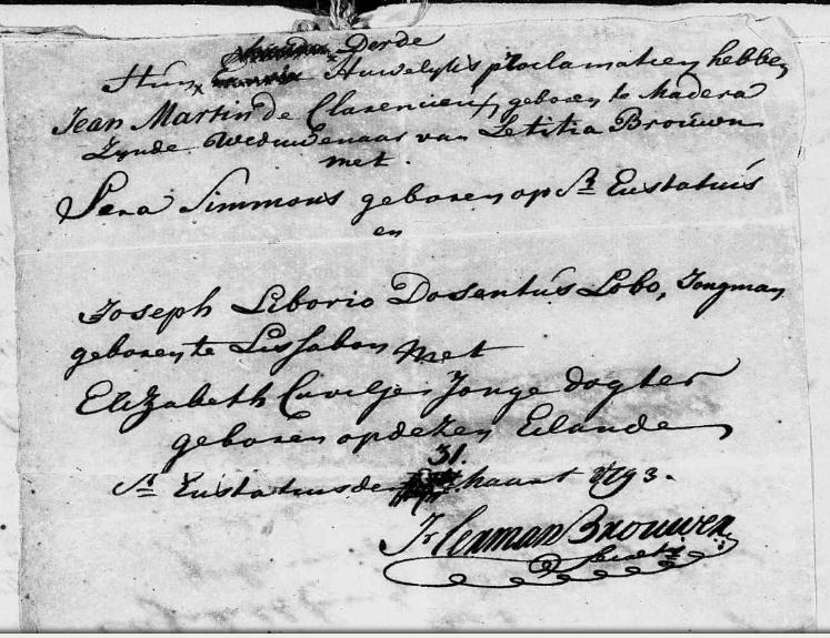 1793 John MARTINS de CLARENCIEUX et Sara SIMMONS